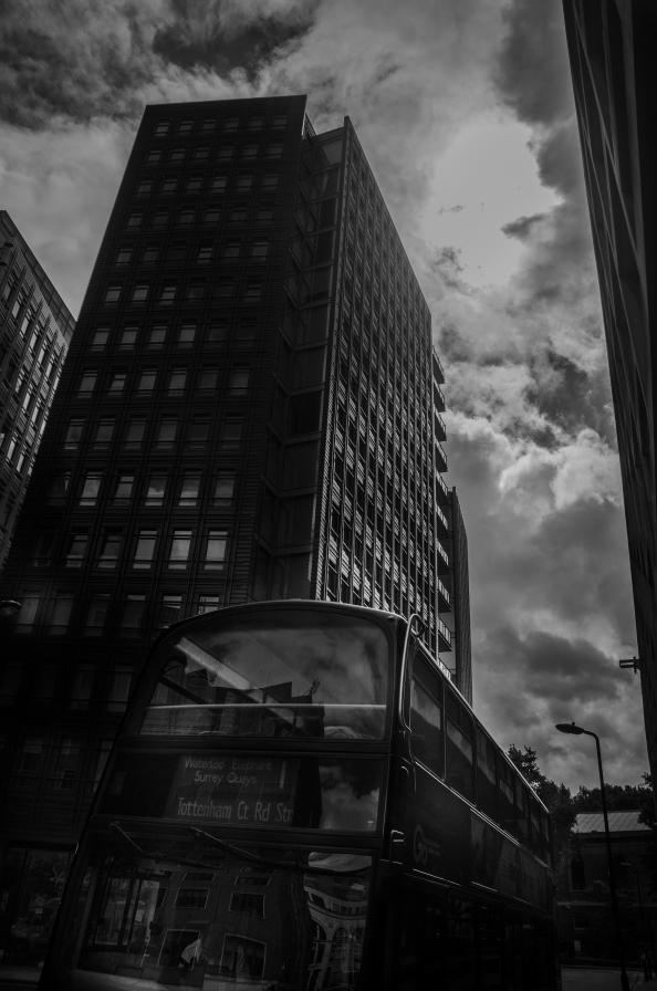 A black and white landscape image