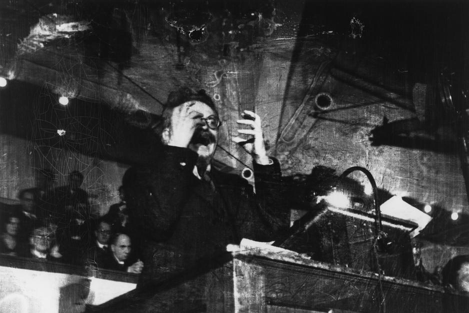 EUROPE. DENMARK. Copenhagen. November 27th, 1932. The Ukranian politician Leon TROTSKY lecturing Danish students on the history of the Russian Revolution. Capa's coverage of Trotsky's lecture was his first published story.