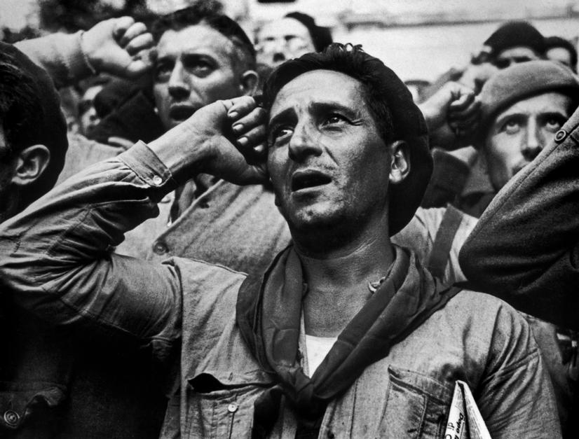 SPAIN.Spanish Civil War ( 1936-9). Montblanch. Near Barcelona.Octobre 25th,1938.Bidding farewell to the International Brigades, which were dismissed by the Republican government, as a consequence of Stalin's friendship with Germany.