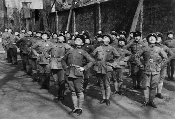 CHINA. Hubei. Hankou. March, 1938. Young women being trained as Nationalist Chinese soldiers. After having lost Shanghai and Nankijng to the Japanese troops, CHANG KAI SHEK retreated to Hankou, where he resisted until late 1938.