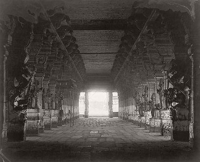 Linnaeus Tripe (British, Devonport (Plymouth Dock) 1822–1902 Devonport) Madura. Trimul Naik's choultry centre nave from west end., January–March 1858 Lightly albumenized Salted paper print; image: 22.5 × 33.1 cm (8 7/8 × 13 1/16 in.) page size: 43.6 × 56 cm (17 3/16 × 22 1/16 in.) The Metropolitan Museum of Art, New York, (LT.BL.8) http://www.metmuseum.org/Collections/search-the-collections/643449