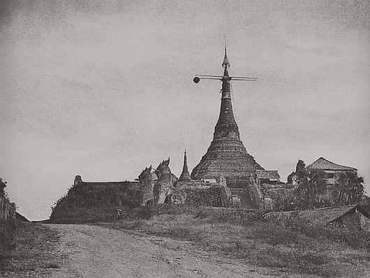 Linnaeus Tripe (British, Devonport (Plymouth Dock) 1822–1902 Devonport) Rangoon. Signal Pagoda., November 1855 Salted paper print; image: 26 × 34.6 cm (10 1/4 × 13 5/8 in.) mount: 45.6 × 58.3 cm (17 15/16 × 22 15/16 in.) mat: 50.8 × 61 cm (20 × 24 in.) The Metropolitan Museum of Art, New York, Private Collection, Courtesy Hans P. Kraus Jr. (LT.HK.3) http://www.metmuseum.org/Collections/search-the-collections/643439